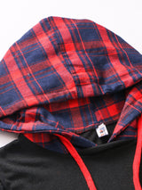 Plaid Casual Paneled Long Sleeve Asymmetrical Hoodie