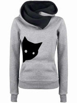 S-3XL Plain Casual Printed Meow Cat Kitten Lady's Pullover Jumper Hoodies