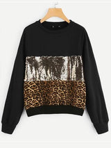 Women's  Casual Round Neck  Leopard Print Long Sleeve Tops