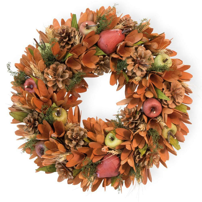 International Harvest Pears Apples and Pinecones Decorative Wreath