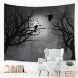 Mystic Fog Forest Tapestry Gothic Birds at Branches On Creepy