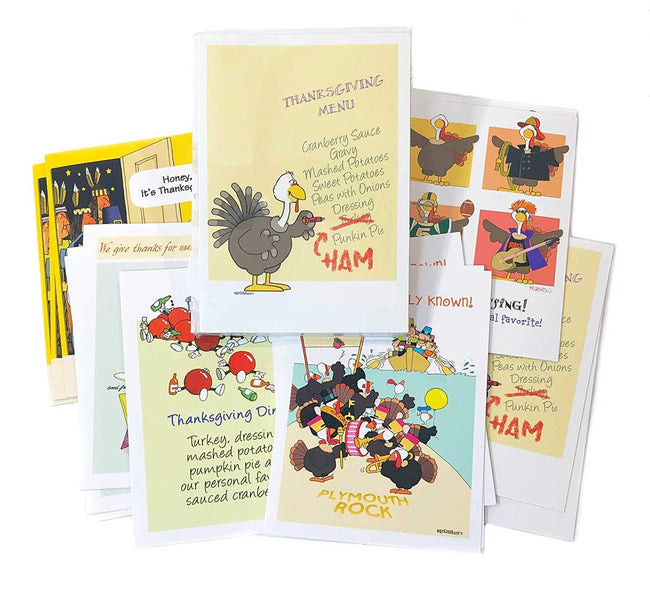 Thanksgiving Card Variety Pack - 18 Funny Boxed Thanksgiving Cards