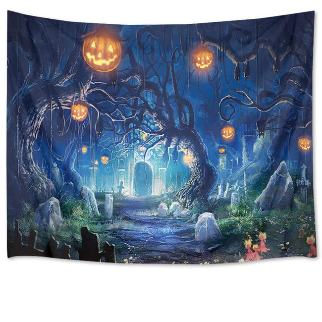 Halloween Tapestry Night Tapestry Wall Hanging Haunted Woods