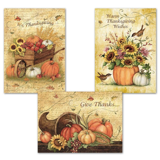 Harvest Thanksgiving Greeting Cards White Envelopes