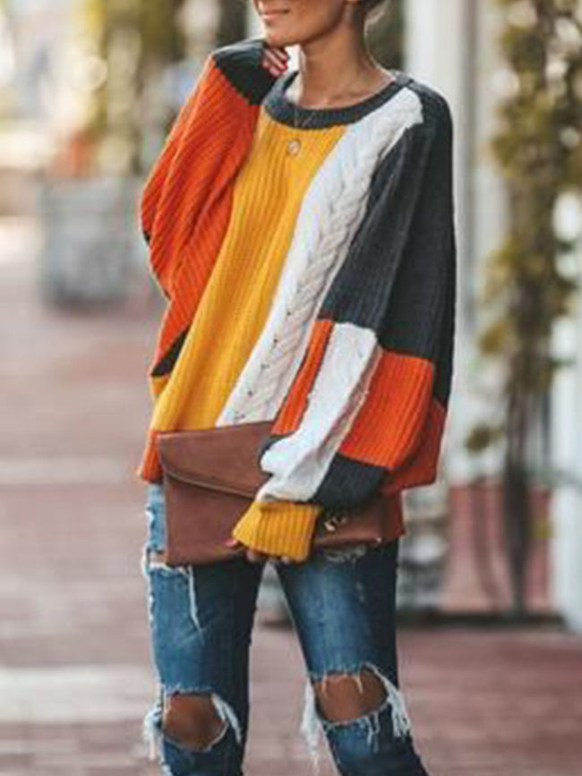Multicolor Color-Block Patchwork Round Neck Long Sleeve Outerwear