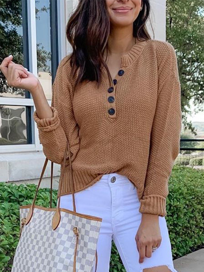 Plus Size Casual Solid Knitted Long Sleeve V Neck Sweater