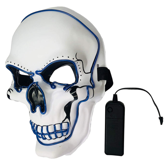 Light Up Mask Halloween Cosplay LED Scary Death Skull Mask EL Wire Mask