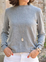 Gray Round Neck Long Sleeve Sweaters