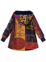 Vintage Hoodie Tribal Cotton-Blend Long Sleeve Winter Coats