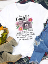 Life Like A Camera Floral T-shirt