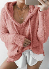 Solid Casual Fluffy Hoodie