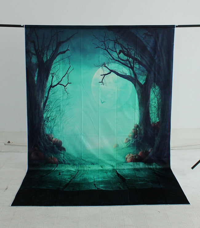 Halloween Background Full Moon Backdrops Creepy Forest Pumpkins