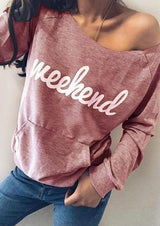 Letter Printed Slash Neck Sweatshirt
