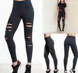 Womens Skinny Ripped Torn Hole Woven Leggings