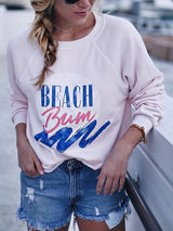 Pink Paneled Crew Neck Letter Basic Shirts & Tops