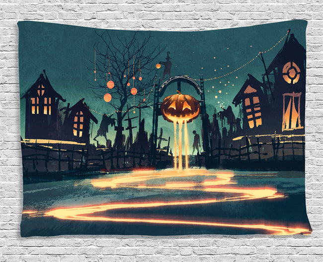 Fantasy Art House Decor Tapestry by Halloween Theme Night Pumpkin