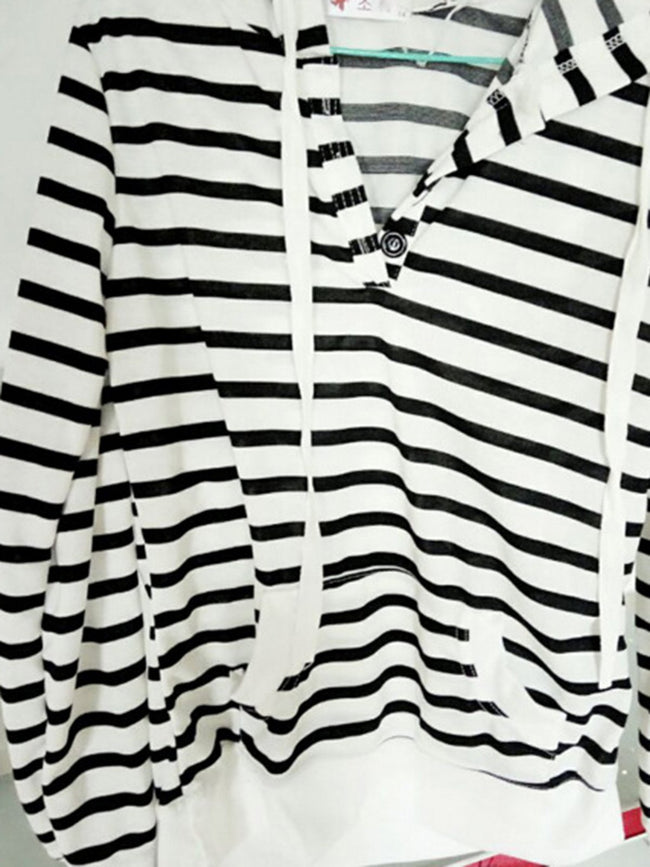 White Stripes Long Sleeve Pockets Hoodie