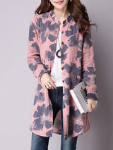 Stand Collar Casual Linen Long Sleeve Printed Coat