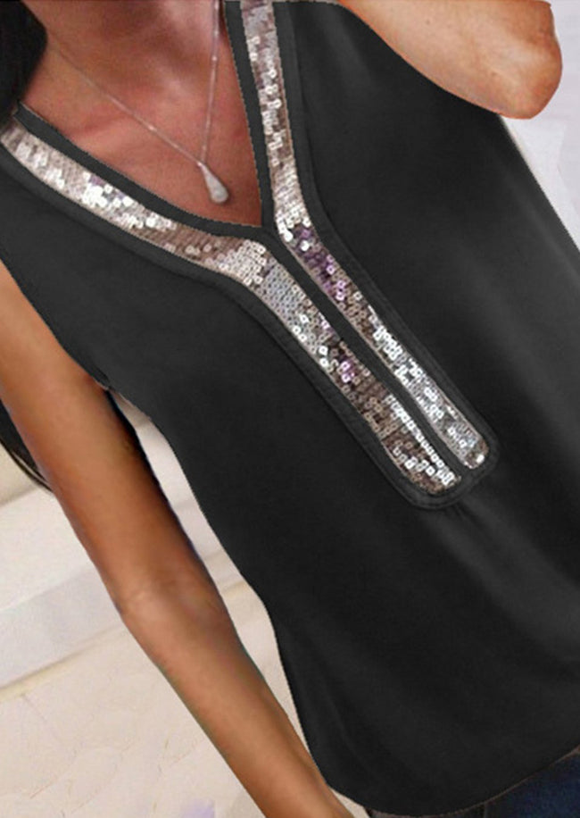 Sequined V-Neck Tank Top