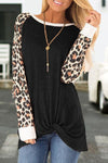 Leopard Print Twisted Round Collar Top