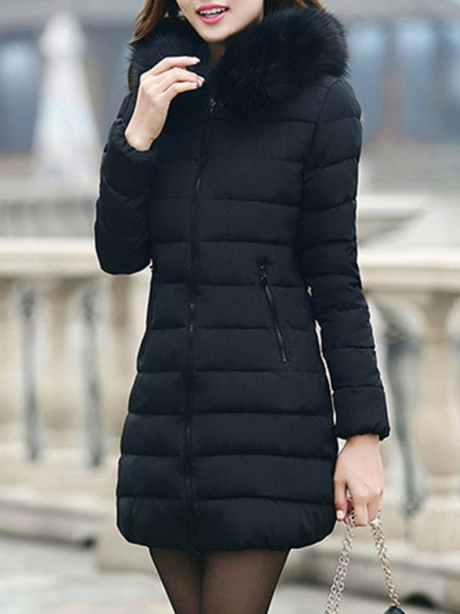 Fur Collar Hoodie Long Winter Parka Coat