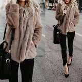 Fleece Shawl Collar Warm Coat