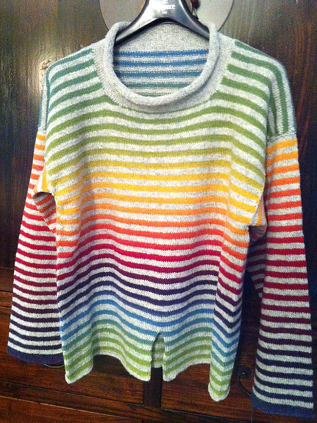 Crew Neck Knitted Casual Striped Shirts & Tops