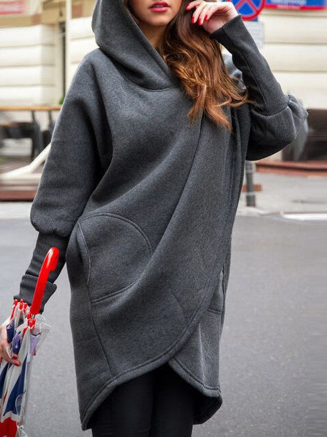 Long Sleeve Pockets Casual Solid Plus Size Hoodie