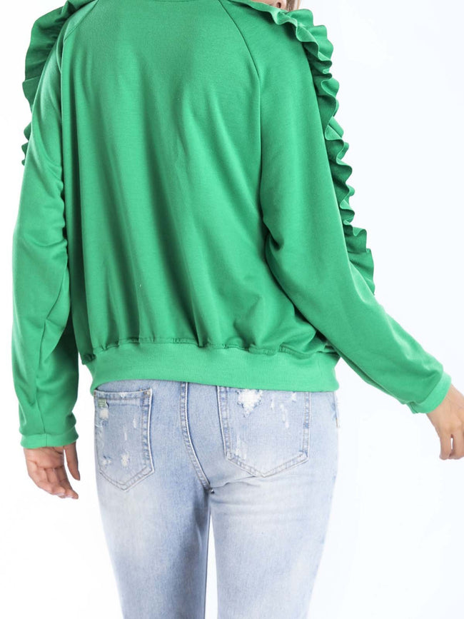 Paneled Casual Crew Neck Cotton-blend Solid Ruffled Sweatshirt