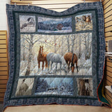 Horses In Winter Forest 3D Blanket Quilt