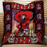 Red Skull Lady 3D Blanket Quilt