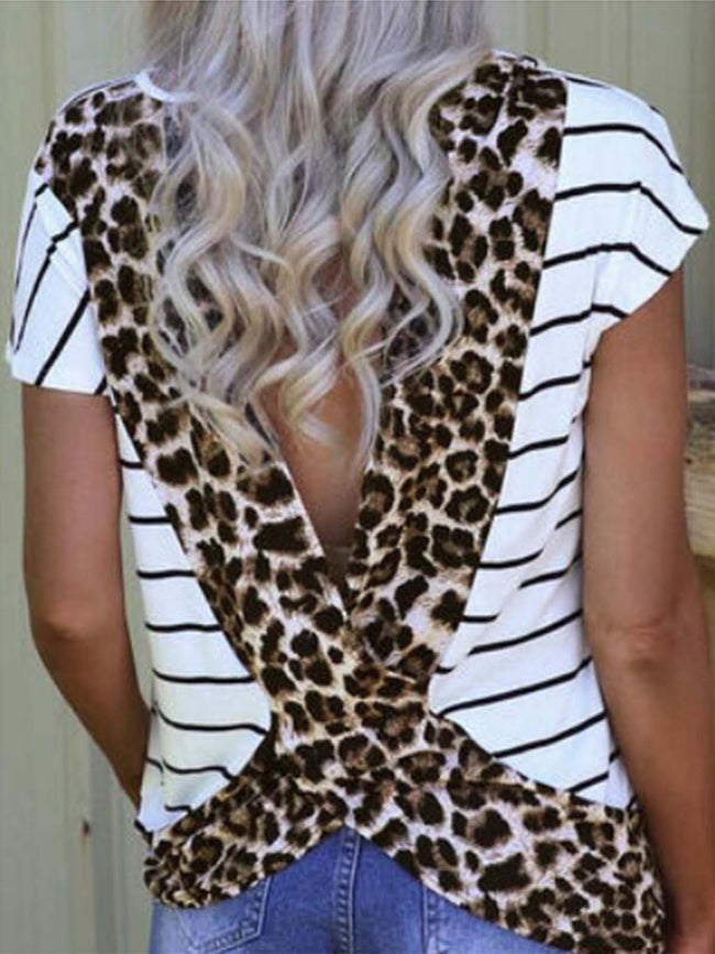 Leopard Stripe Printed V Back T-shirt