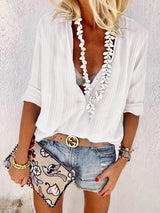 Solid Striped V-Neck Casual Shirt Without Necklace