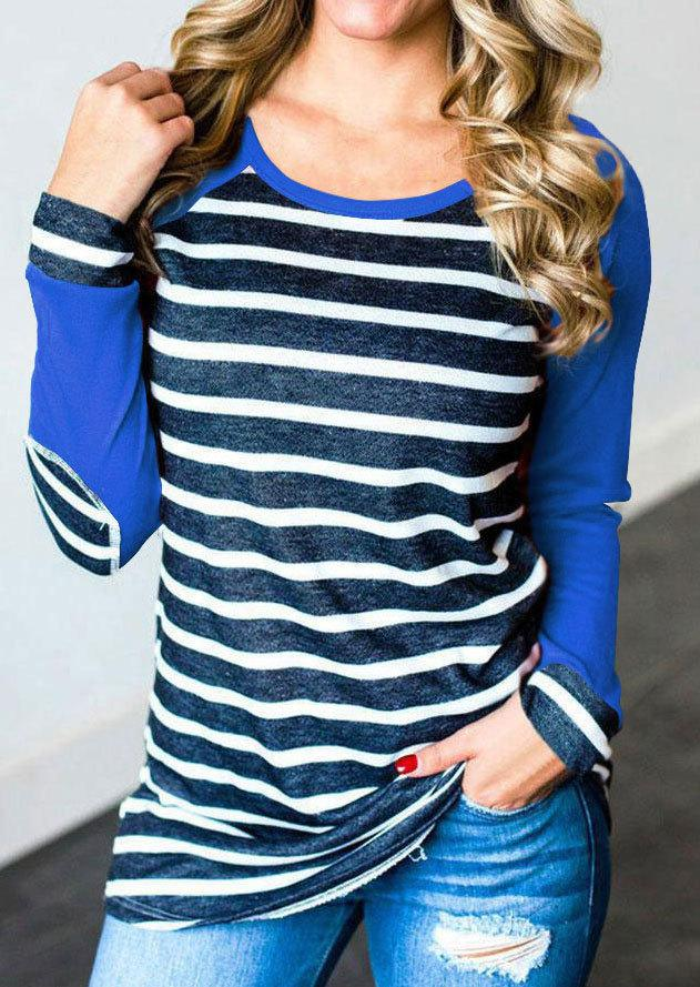Striped Elbow Patch Lone Sleeve T-Shirt