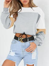 Seven Colors Round Neck Paneled Strap Hoodies