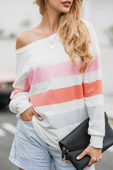 Printed Striped Round-Neck Top