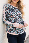Leopard-Print Splicing Long-Sleeve Top