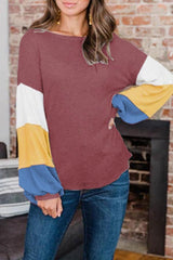 Round-Necked Color Collision Top