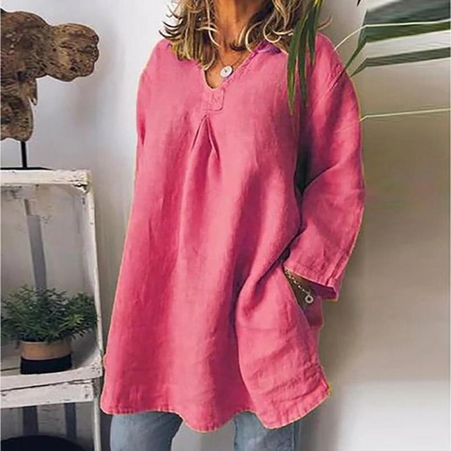 Plus Size Long Sleeve Plain Blouses