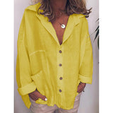 Large Size Loose Buttoned Pocket Blouses