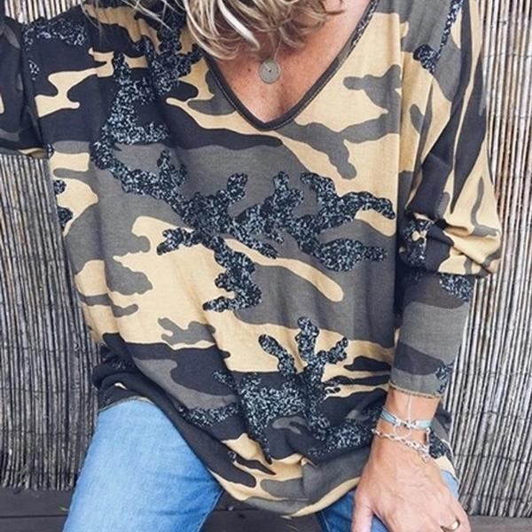 V Neck Printed Fashion Women Blouses