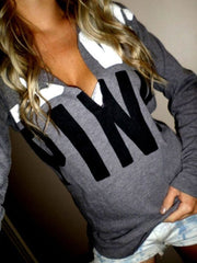 Color Block V Neck Letters Printed Hoodie