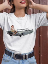 Pin-up Girl On Gray Car Vintage T-shirt