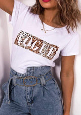 Leopard Letter Printed Short Sleeve T-shirt