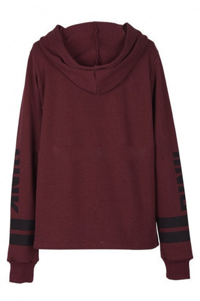 Letter Print Long Sleeve Loose Leisure Hoodie