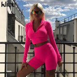 Two Pieces Full Sleeve Zipper Turtleneck Tops And High Waist Shorts