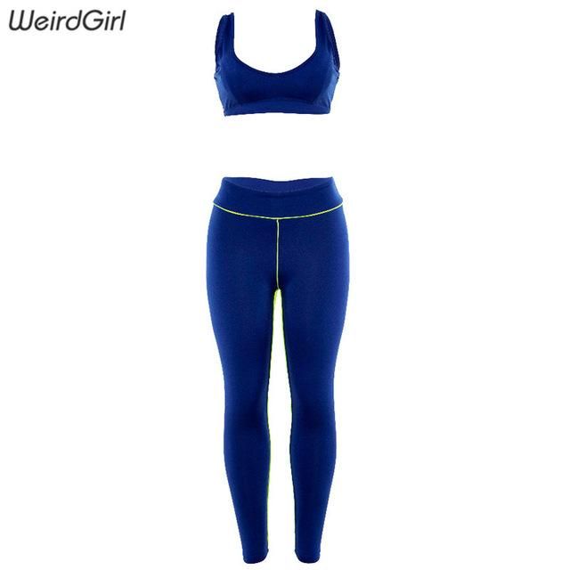 Women Basic Elastic Slim Fitness two pieces set