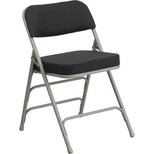 Premium Curved Triple Braced & Double Hinged Upholstered Metal Folding Chair