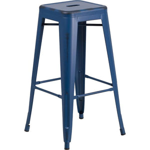 Fiora Backless Bar Stool Distressed