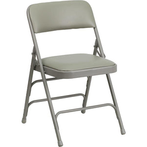 Curved Triple Braced & Double Hinged Upholstered Metal Folding Chair